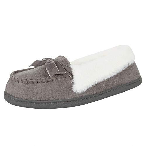 Jessica Simpson Womens Micro Suede Moccasin Indoor Outdoor Slipper Shoe,Grey,Large