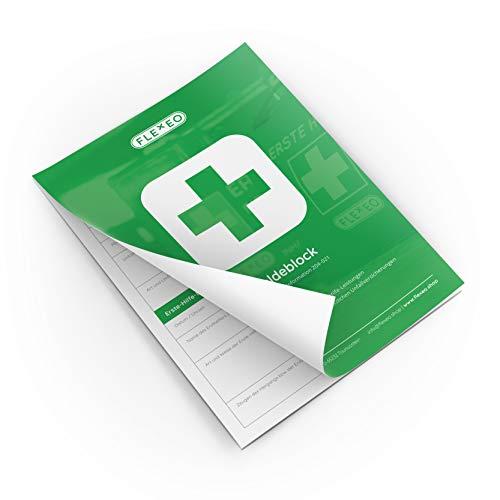 FLEXEO Meldeblock | DSGVO konforme Alternative zum Verbandbuch | 50 Blatt | DIN A5 | Gem. DGUV 204-020 | Stand 2021 | Verbandsbuch Betrieb 2021 | Verbandbuch für Betriebe 2021 | 1 Stück