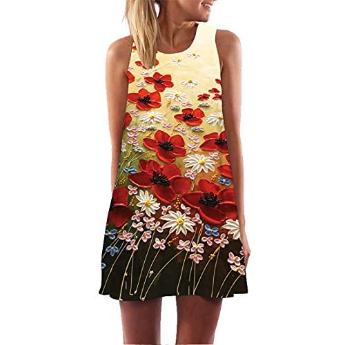 Sexy Sling Gradient Falda Mujer Bohemia Floral Vestido De Verano Retro Cuello Redondo Túnica Túnica Cóctel De Noche Swing Shift Vestido De Playa M