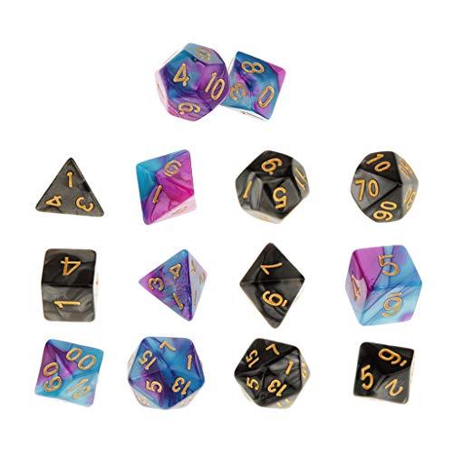 YIJU 14PCS Polyhedral Dice D4 D6 D8 D10 D12 D20 d4-d20 Double-Colors Dices Set Dice 16mm for Party Casino Table Game Toys