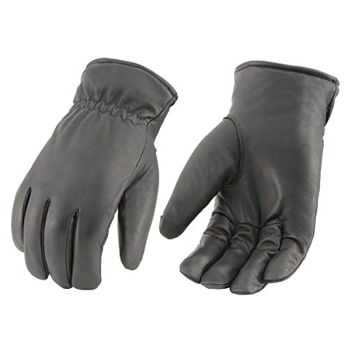 Milwaukee Leather MG7523 Men's Black Leather Waterproof Cruiser Gloves with Gel Palm - Large