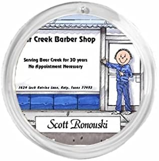 PrintedPerfection.com Personalized Round Christmas Ornament Friendly Folks: Barbershop - Male Barber