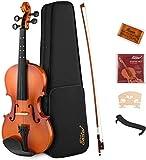 Eastar 3/4 Violine Set für Anfänger Geige mit Lernpunkt in Fingerplatte mit Inlay mit Hardcase Schulterstütze Bogen Kolophonium Geige Brücke und Saiten (EVA-2)