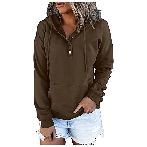 De las mujeres Tops Color Oscuro Botón Color Sólido Sudaderas O-cuello Casual Down Manga Larga Suéter Bolsillo Sudaderas, marrón, S