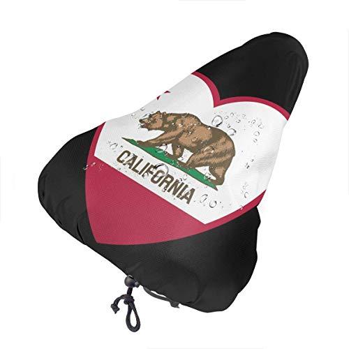 Xiaoyinghua Coprisella per Bici Coprisedile per Bicicletta a Forma di Cuore Bandiera California per Uomo Donna Coprivaso Antipioggia per Bici da Donna
