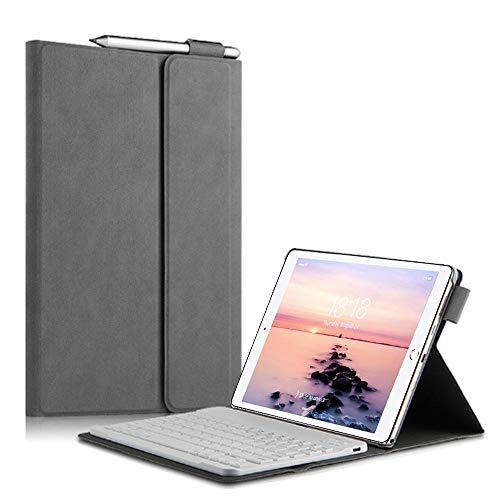 QYiD iPad Mini 5 / Mini 4 Keyboard Case, Folio PU Leather Stand Case Cover with Magnetically Detachable Wireless Keyboard for Apple iPad Mini 5th Gen 2019 / iPad Mini 4, Gray