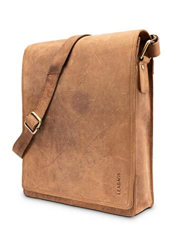 LEABAGS London Umhängetasche Schultertasche für 13 Zoll Tablets aus echtem Leder im Vintage Look, (LxBxH) ca. 26 x 8 x 31 cm - Fox