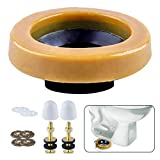 BOEEMI Wax Ring & Brass Bolts for Toilet Bowls Reinforced with Polyethylene Flange, Toilet Bowl Wax Gasket...