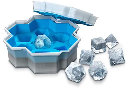 Dice Ice Cube Mold, 7 formas Dice Ice Cube Bandeja para hacer bebidas refrescantes Whisky, Reutilizable y sin BPA Molde cuadrado triangular para dados