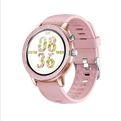 Pantalla Táctil Reloj Inteligente,Compatible con Teléfonos iOS O Android Dormir Pulsera De Actividad Monitor De Presión Arterial Impermeable Smart Watche Rosado 1.3inch
