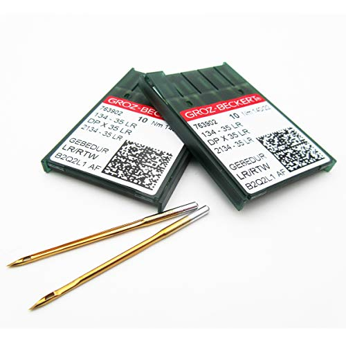 GROZ-BECKERT NEEDLE -20piezas Groz-Beckert 134-35LR, DPX35LR Agujas de coser de cuero de titanio Gebedur (21/130)