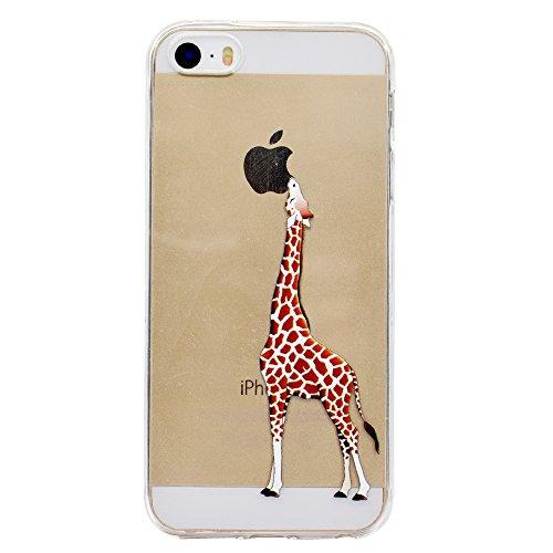 Sycode Custodia per iPhone 5 5S,Cover per iPhone 5S,Carina Cartone Giraffa Morbida Protettivo Coperture per iPhone SE 5S 5-Giraffa
