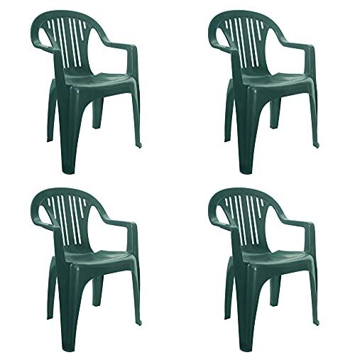 resol Port sillón Silla con Brazos de plástico para jardín Exterior terraza - Color Verde Oscuro, Set de 4 Unidades