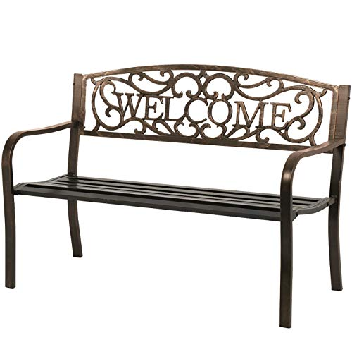 Garden Bench Outdoor Bench for Patio Metal Bench Park Bench Cushion for Yard Porch Work Entryway (Bronze)