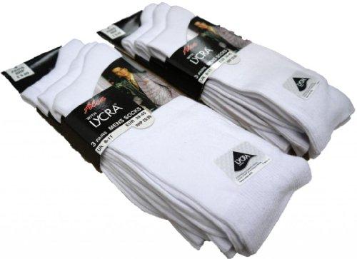 3 Paar, Baumwolle mit Lycra-Glattstrick-Socken, Gr. 39-46 (UK 6-11) & 11-14, Weiß, UK 6-11 Eur 39-45