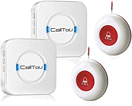 CallToU Wireless Caregiver Pager Smart Call System 2 SOS Call Buttons/Transmitters 2 Receivers Nurse Calling Alert Patient Help System for Home/Personal Attention Pager 500+Feet Plugin Receiver