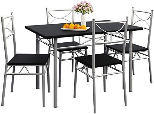 5 sillas y mesas de comedor cocina arreglada balcón sala de estar,Black