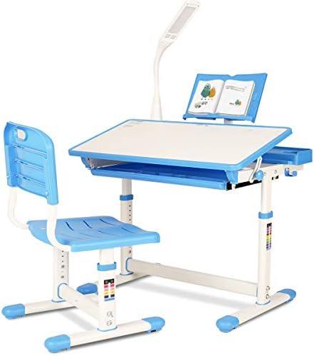 Kids Desk and Chair Set Ergonomic Design Functional Children Study Table School Writing Desk product image