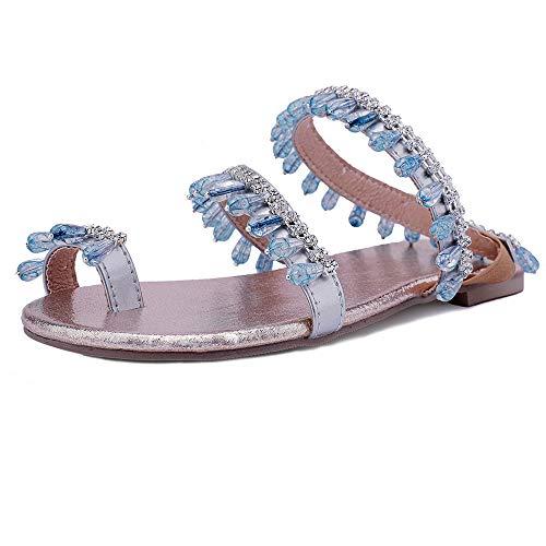 Mediffen Mujer Clip Toe Flip Flops Flats Verano Bohemia Sandalias con Tachuelas Clásica Mujer Comodo Playa Zapatos Exterior Zapatillas Azul Talla 43 Asiática (Ropa)