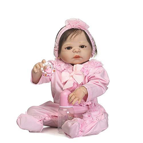 HWZZ Reborn Puppe Handmade 22Inch 56Cm Reborn Baby Dolls Mädchen Weiches Silikon Schöne Lebensechte Süße Junge Mädchen Spielzeug, Die Echte Kleinkind Neugeborenen,56cm