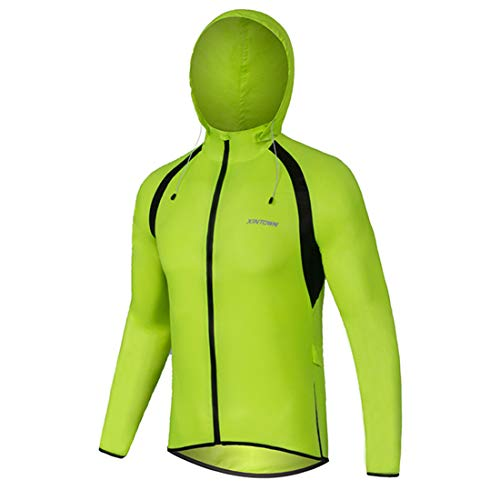 GWELL Damen Herren Leicht Fahrradjacke Regenjacke mit Kapuze Wasserdicht Winddicht Atmungsaktiv Fahrradbekleidung, Grün, EU L = (Etikett XL)