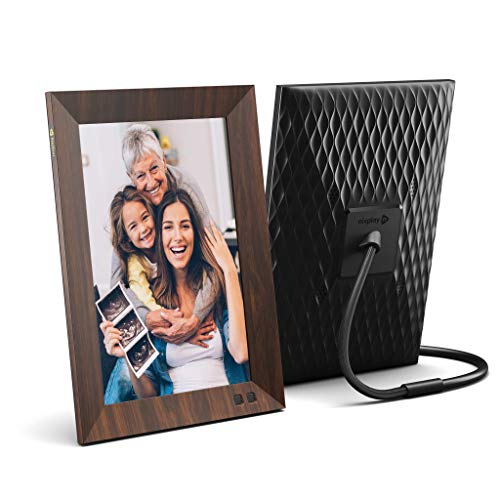 Nixplay Smart Digital Photo Frame 10.1 Inch Wood-Effect - Share Moments Instantly via EMail or App