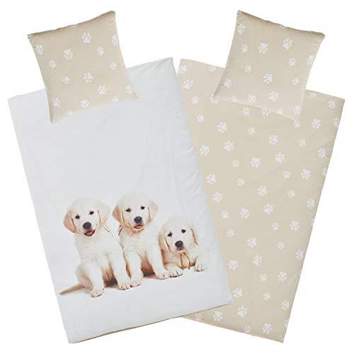 Aminata Kids Bettwäsche Hund 135x200 Hunde-Pfoten-Motiv Welpen Kinder-Bettwäsche-Set Baumwolle mit YKK Reißverschluss - beige, weiß - Dog für Jungen, Mädchen & Jugendliche Hundebettwäsche groß Welpe