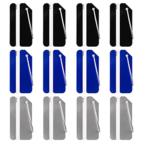 WXJ13 12 Pack Luggage Tags Business Card Bag Tags Stainless Steel Aluminum Holder Metal Travel ID Bag Tag for Travel Luggage Baggage Identifier (Blue, Black, Silver)