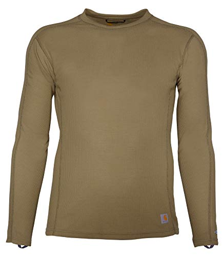 Carhartt Men's Size Force Midweight Classic Thermal Base Layer Long Sleeve Shirt, Burnt Olive, 2X-Large Tall