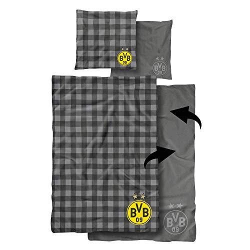 Borussia Dortmund BVB-Wendebettwäsche (155x220cm Decke), ca. 80 x 80 cm (Kissen), Schwarz/Grau