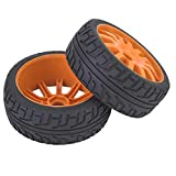 Dilwe Mozzo per Pneumatici Auto RC, Mozzo per Pneumatici Auto RC Ruota in Gomma Ricambio per 1/8 di Accessori per Auto da Corsa su Strada RC(Arancio)