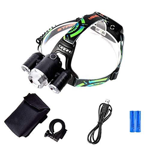 Linterna frontal de 3 LED, recargable por USB, 3000 lúmenes, 5 modos de luz, se puede utilizar como luz de bicicleta, perfecto para camping, correr, senderismo y otras actividades al aire libre.