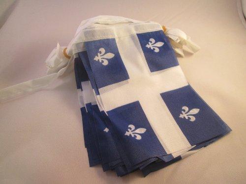 AZ FLAG Guirlande 4 mètres 20 Drapeaux Québec 15x10 cm - Drapeau québécois 10 x 15 cm