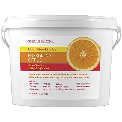 SMELLS BEGONE Odor Absorber Gel - Air Freshener & Odor Eliminator for Homes, Garages & Commercial Buildings - Industrial Size - Energizing Citrus Scent - 1 Gallon