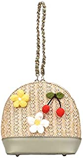 TOOGOO Shell Type Woven Shoulder Bag Handbag Three-Dimensional Flower Cherry Lady Messenger Bag Yellow