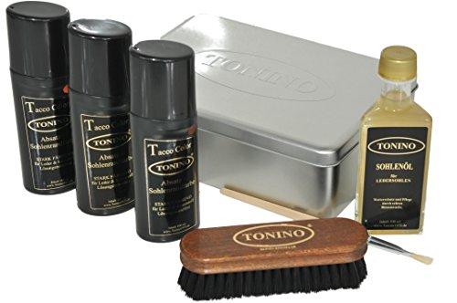 Tonino Tonino Sohlenpflege Set mit Sohlenöl und 3 Absatz- Sohlenrandfarben