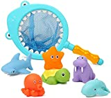 Bath Toy, Water Spraying Discoloration Floating Animals, Bathroom Pool Accessory, Shark Fishing Play Set for Babies and Kids