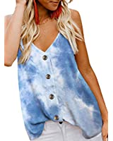 BLENCOT Women's Summer Tie Dye Button Down V Neck Strappy Tank Tops Loose Casual Sleeveless Shirts Blouses Sky Blue S