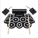 batteria elettronica portatile, batteria elettronica roll up midi, pedali, bacchette e alimentazione con batteria ricaricabile