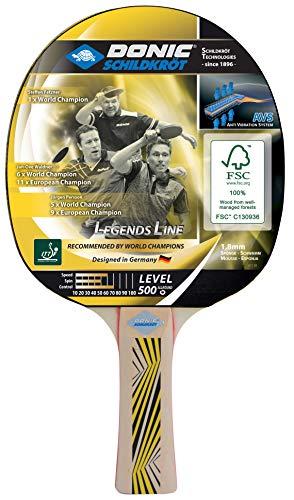 Donic-Schildkröt Raqueta de Tenis de Mesa Legends 500, Mango AVS, Esponja de 1,8 mm, Madera FSC, Almohadilla Elite-ITTF, 714407