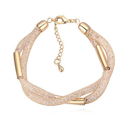 Armband Armbanden Link Armbanden Europese en Amerikaanse Mode Sieraden Crystal Armband Mesh Garen Weave Hand Sieraden