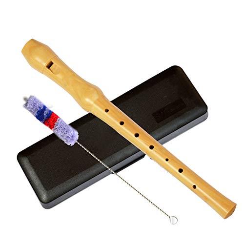 Bclaer72 Holz-Sopranblockflöte, Lange 8-Loch Sopran-Blockflöte, deutsche Flöte, Musikinstrumente mit Reinigungsstab-Etui, Anleitung für Schüler