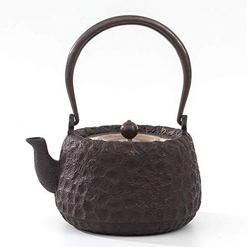 BXU-BG Tetera japonesa de hierro fundido de hierro fundido, hervidor de té resistente al calor, para oficina en casa, gran capacidad de 1400 ml (color: negro, tamaño: 1400 ml)