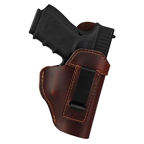 IWB Leather Holster for Concealed Carry, Genuine Leather Gun Holster Fit Glock 19/23/43X Ruger LC9 Sig P365 Taurus G2C/G3C Springfield XDS/Hellcat or Similar Sized Handguns - RH