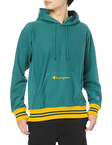 [チャンピオン] パーカー トレーナー 裏毛 長袖 綿100% 10oz ラインリブ スクリプトロゴ刺繍リバースウィーブ フーデッドスウェットシャツ C3-T112 メンズ モスグリーン XL