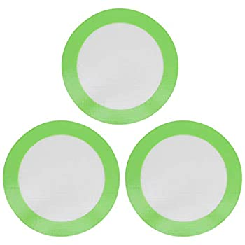BESTonZON Silicone Baking Mats 3-Pack Non-Stick Round Silicone Baking Sheet Liner,Reusable Heat Resistant Baking Pastry Sheets Round Green