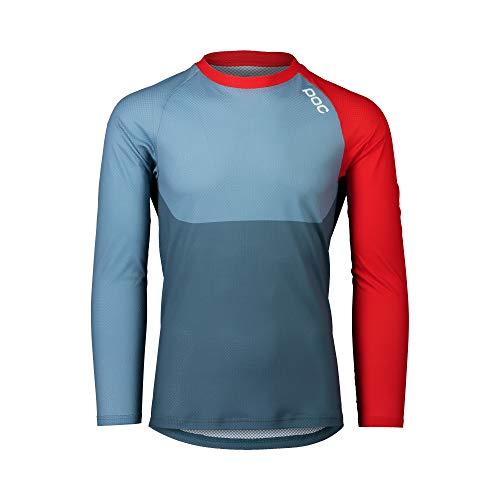 POC Unisex MTB Pure LS Jersey Langarm Fahrradtrikot, Unisex, Radtrikot, Calcite Blue/Prismane Rot, S