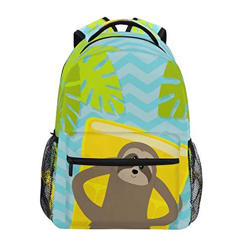 HaJie Backpack Summer Beach Plam Leaves Sloth Travel Daypack Large Capacity Rucksack Casual School Book Bag Shoulder Straps Computer Laptop Bag for Womens Mens Teenage Girls Boys