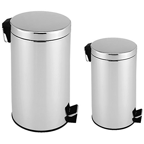 Deuba 2X Mülleimer Edelstahl Abfalleimer Tretmülleimer Papierkorb Abfallbehälter Müllsammler Müll 3 Liter + 12 Liter