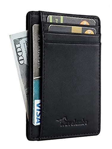 Travelambo Front Pocket Minimalist Leather Slim Wallet RFID Blocking Medium Size(03 CH Black)
